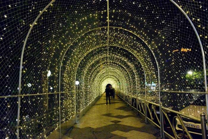 تونل نوری همه رنگ ، تونل نور زرد ، ریسه تونلی ، چراغ تونل نوری